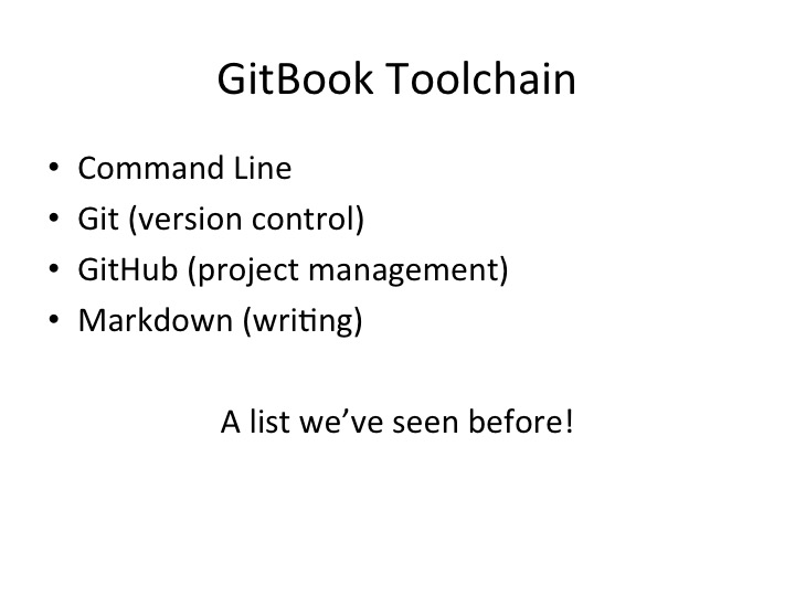 Gitbook Toolchain Slide