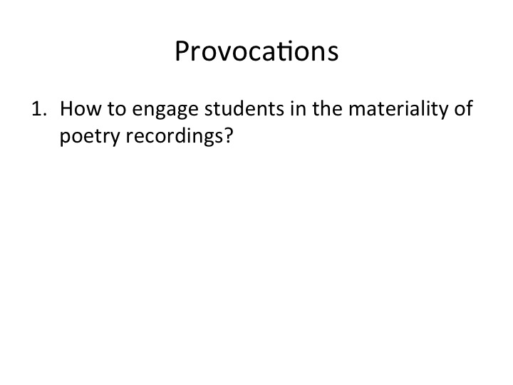 provocations for the talk
