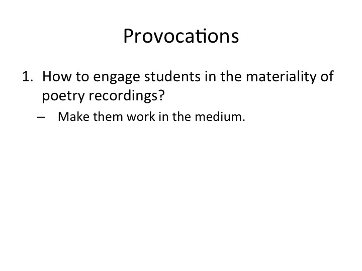 provocations 2 - work in the medium