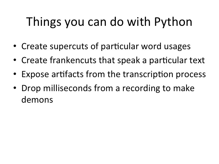 reviewing what you can do with Python
