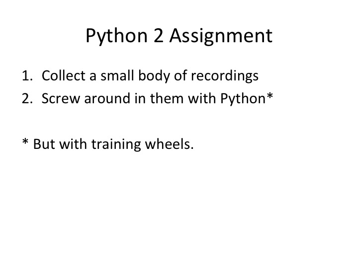 sample (joke) assignment with Python audio