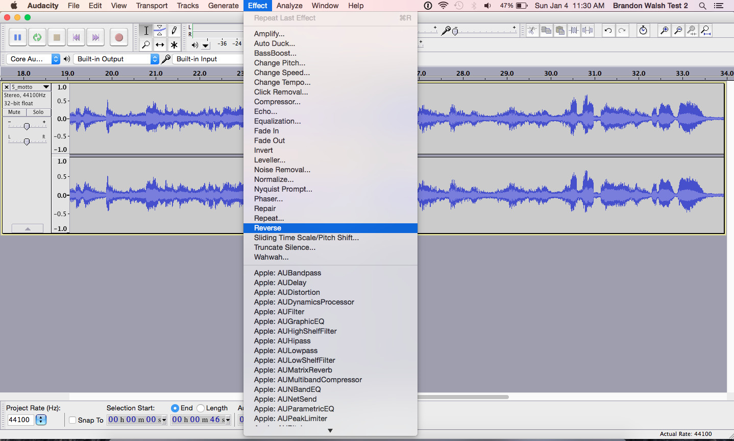 Audacity effects menu and reverse function