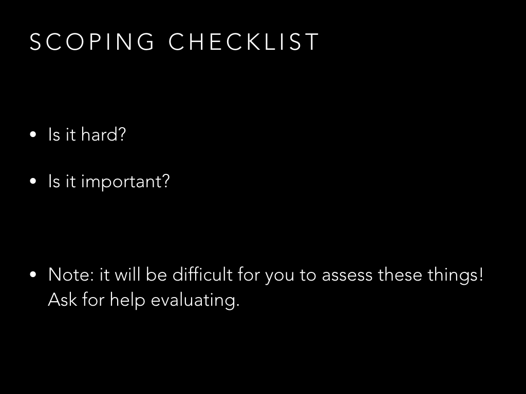 Scoping checklist