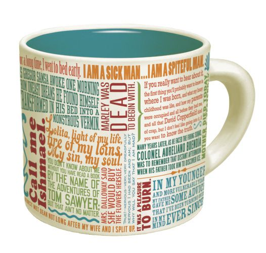 Mug with literary quotations on it.