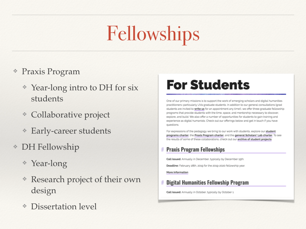 Summary of the two year-long fellowship programs in the Scholars' Lab