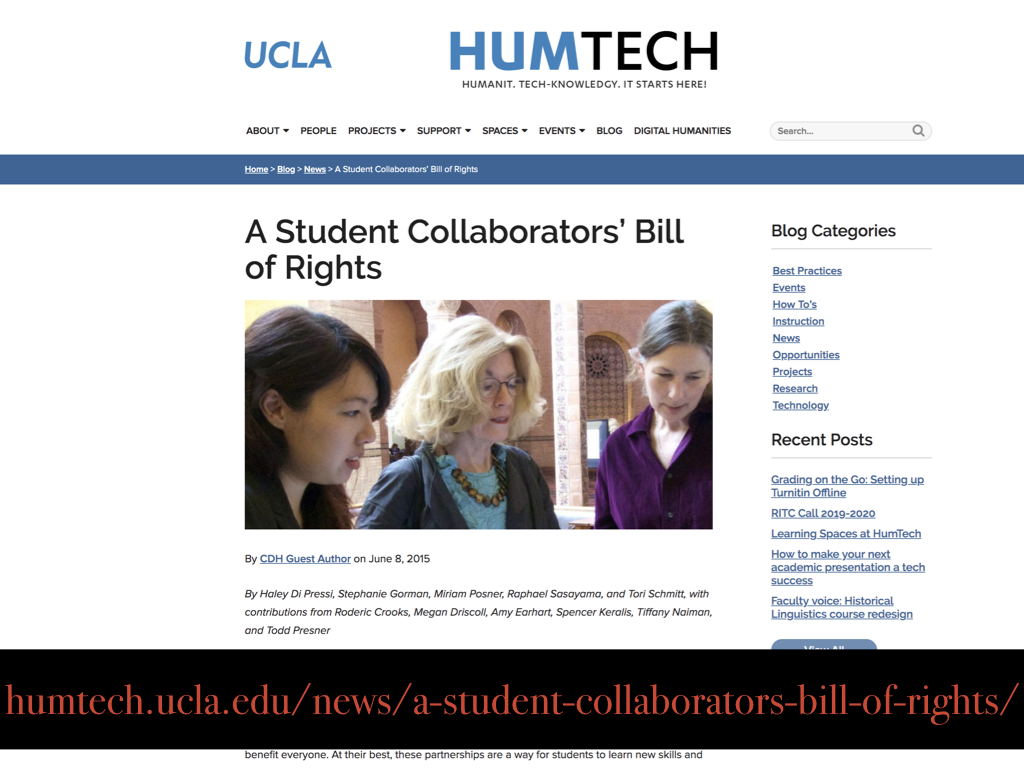 UCLA Student Collaborators Bill of Rights
